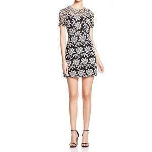 Sandro Black White Lace Floral Mini Dress Size S